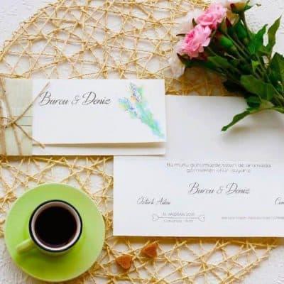 Yeşil ve Doğa Temalı Düğün Davetiyesi Örnekleri